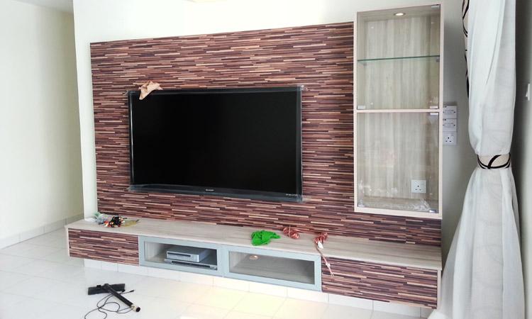 Tv cabinet design wall mount tv cabinet living room design in taman equine sri kembangan - Tv cabinet designs ...
